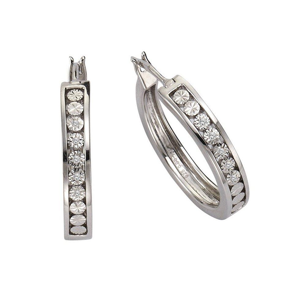CELESTA Creolen »925/- Silber 10xDiamant« in weiß