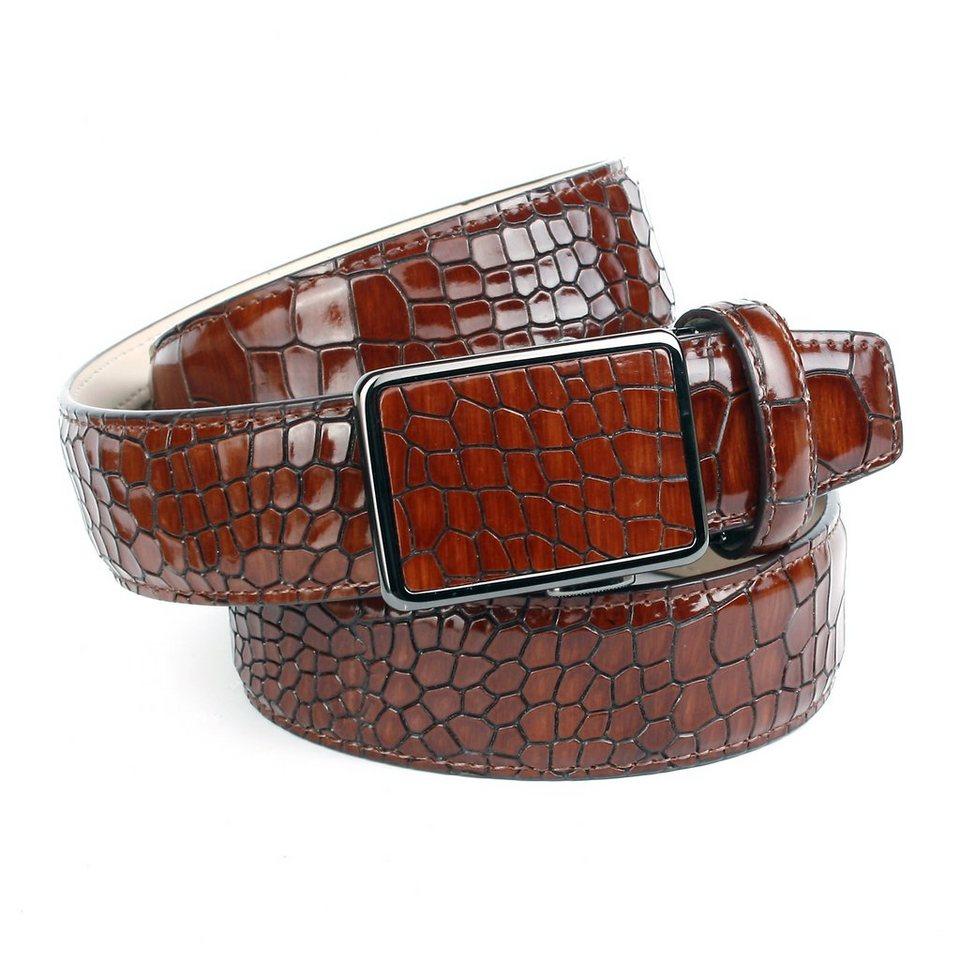 Anthoni Crown Ledergürtel mit Krokomuster in Braun cognac