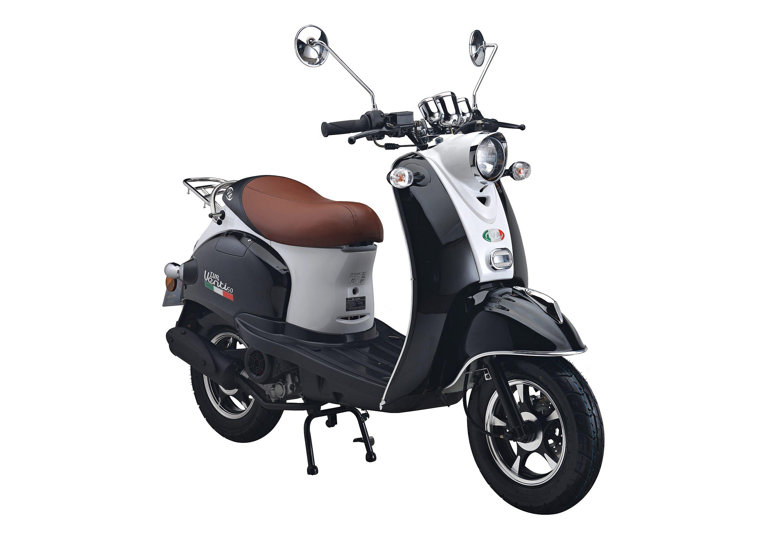 Motorroller, 50 ccm, 3 PS, 45 km/h, für 2 Personen, weiss-schwarz, »VENTI«, IVA