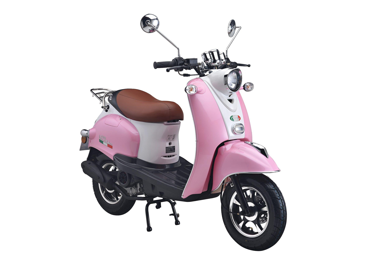 Motorroller, 50 ccm, 3 PS, 45 km/h, für 2 Personen, rosa-weiss, »VENTI«, IVA