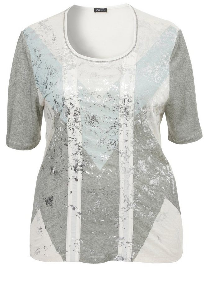 VIA APPIA DUE Leinen-T-Shirt »mit Silberglanz« in FANGO MULTICOLOR