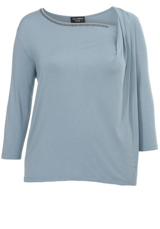 VIA APPIA DUE Kombi-Shirt »mit Drapierung« in RAUCHBLAU