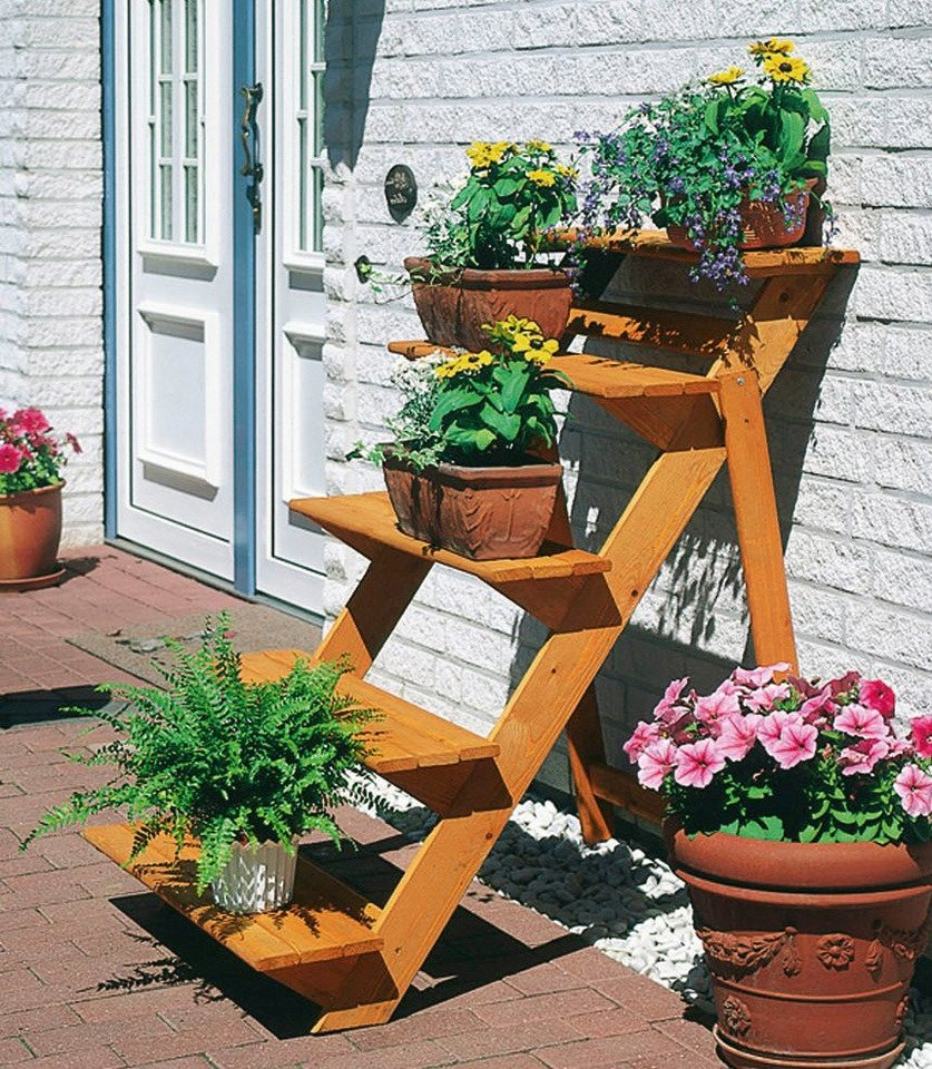 Rahmenholz »Blumentreppe groß« B/T/H: 78/100/109 cm in braun