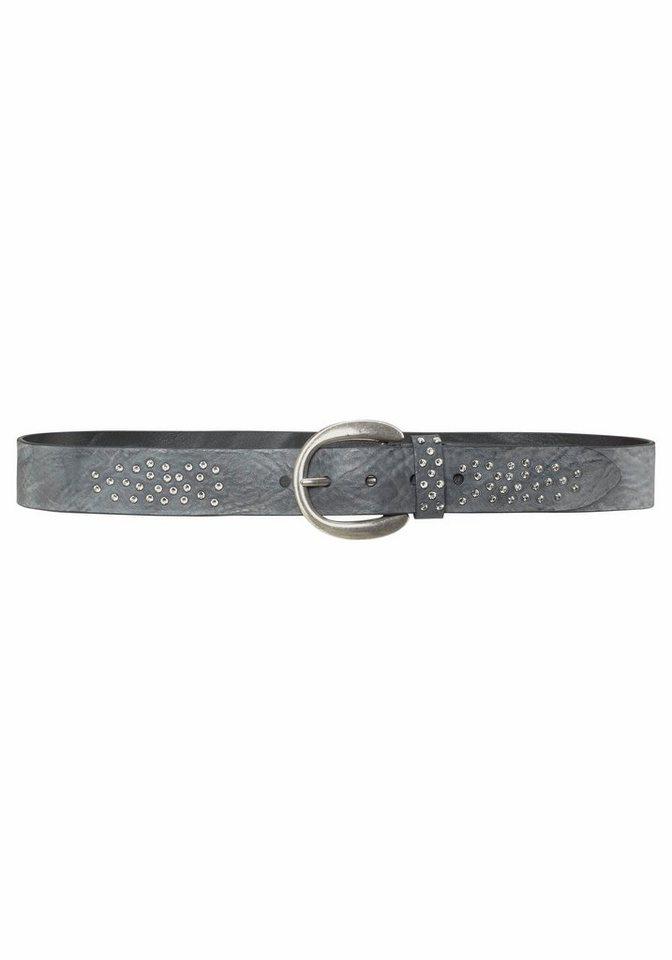 Silbergift Ledergürtel mit Swarovski Kristallen in grau