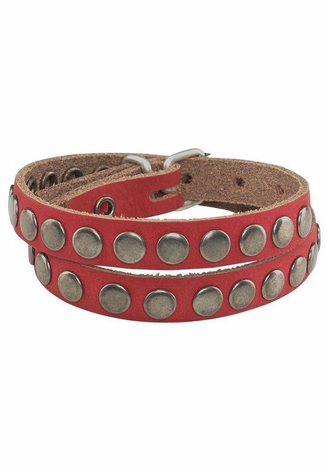 J. Jayz Armband mit Nieten rundum in rot