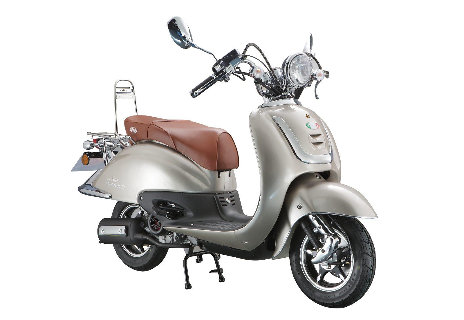 Retro Mofaroller, 50 ccm, 3 PS, 25 km/h, für 1 Person, beigefarben, »ROMA«, IVA
