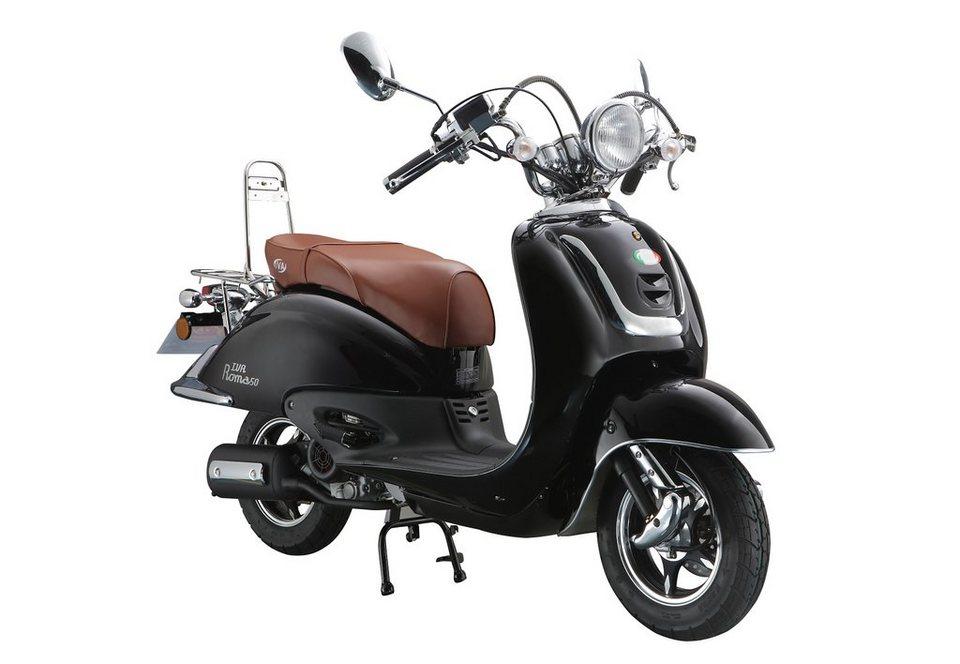 Retro-Motorroller »RETRO ROMA«, 50 ccm 45 km/h, für 2 Personen, schwarz/braun in schwarz/braun