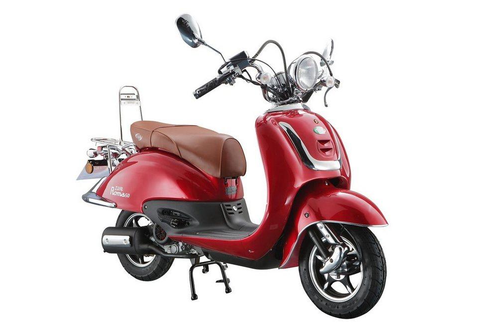 Retro-Motorroller »RETRO ROMA«, 50 ccm 45 km/h, für 2 Personen, rot/braun in rot/braun
