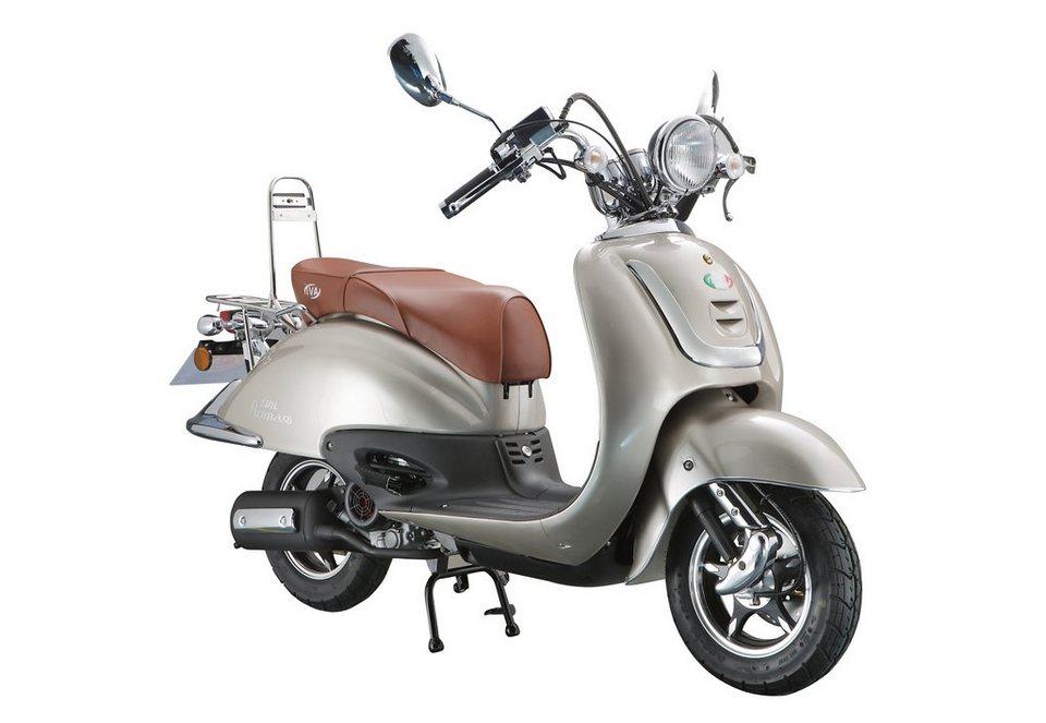 Retro Motorroller, 50 ccm, 3 PS, 45 km/h, für 2 Personen, beigefarben, »ROMA«, IVA in beigefarben