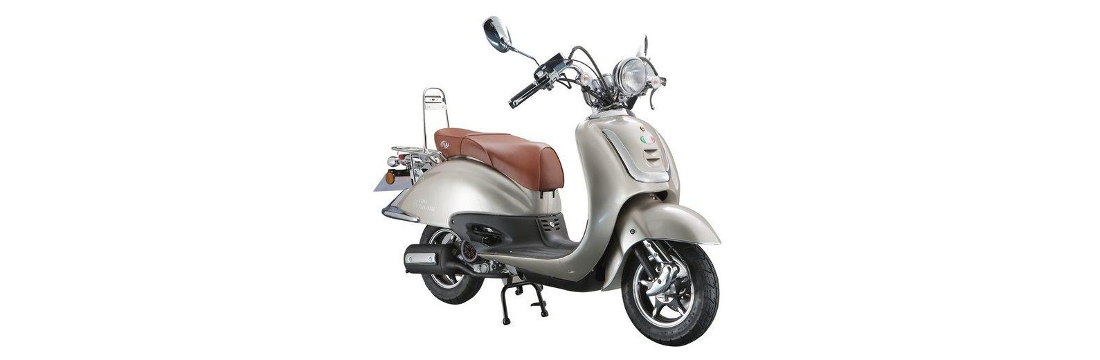 Retro Motorroller, 50 ccm, 3 PS, 45 km/h, für 2 Personen, beigefarben, »ROMA«, IVA