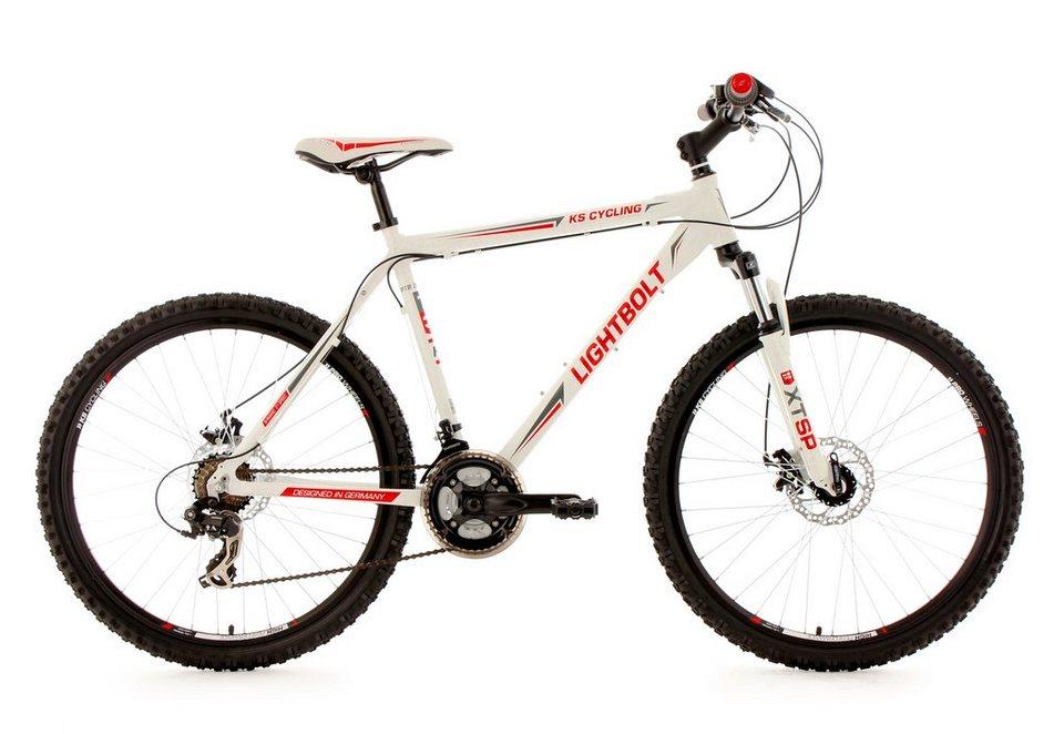 Hardtail-Mountainbike, 26 Zoll, weiß, 21 Gang Kettenschaltung, »Lightbolt«, KS Cycling in weiß