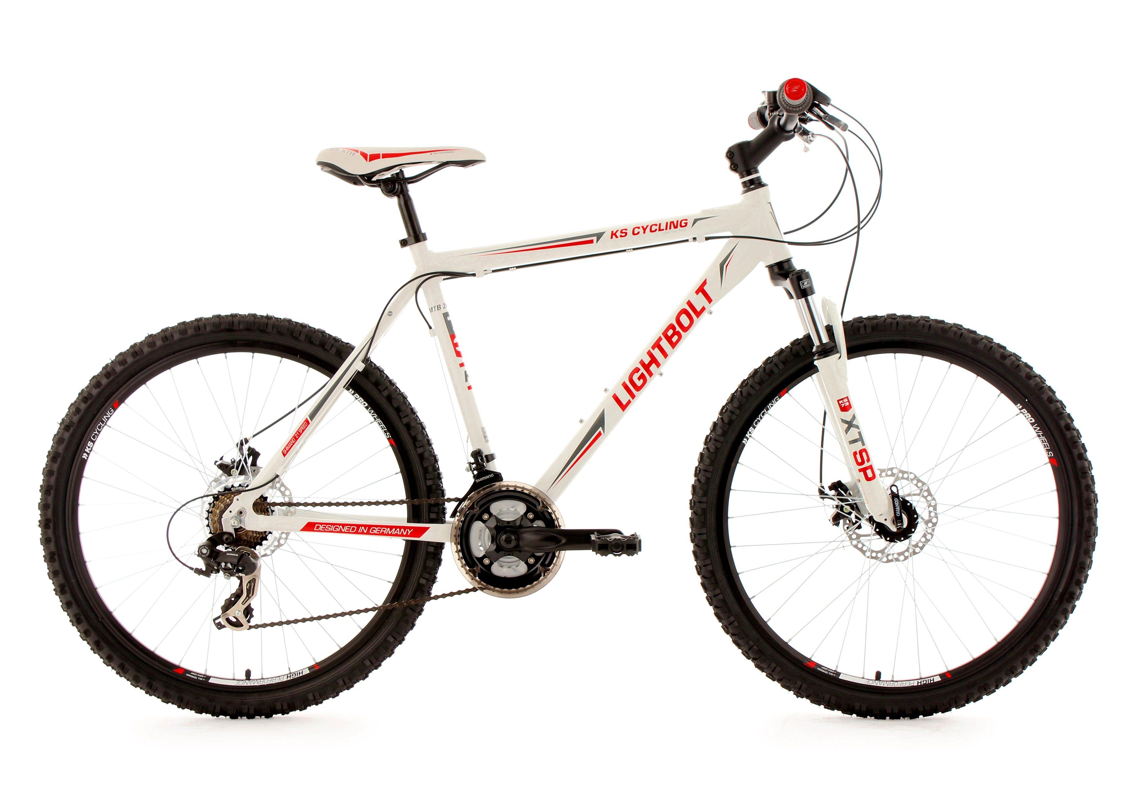 Hardtail-Mountainbike, 26 Zoll, weiß, 21 Gang Kettenschaltung, »Lightbolt«, KS Cycling