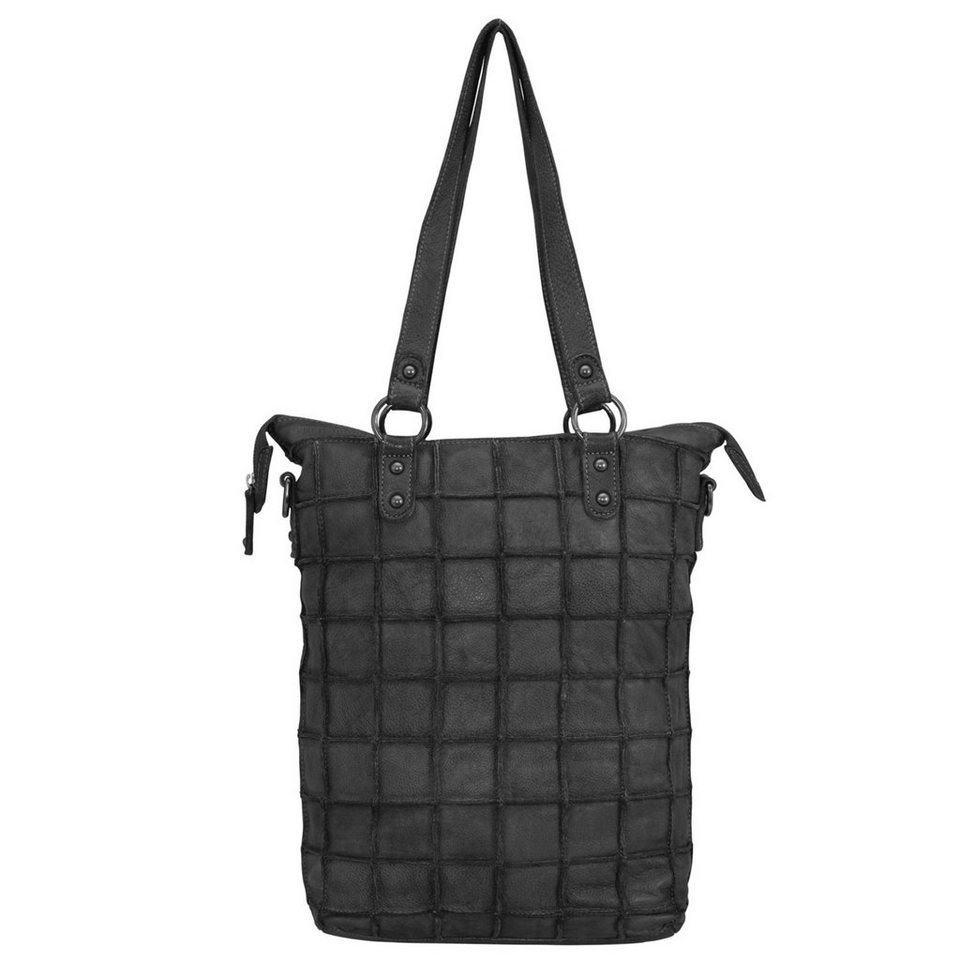 FREDsBRUDER Rechteckimpuls Shopper Tasche Leder 30 cm in black