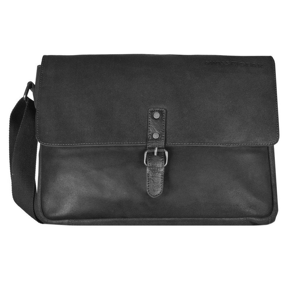 Wenger Swiss Gear Foggy Messenger Umhängetasche Leder 38 cm Laptopfach in schwarz