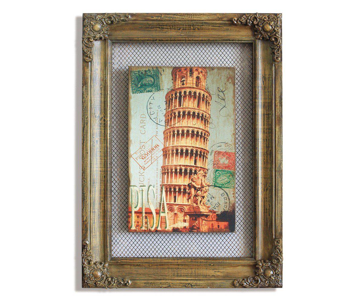 DELIFE Wandbild Schiefer Turm Braun 42x58 cm Vintage Optik