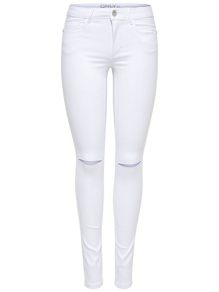 Only Royal reg weiße Knieschnitt- Skinny Fit Jeans in White