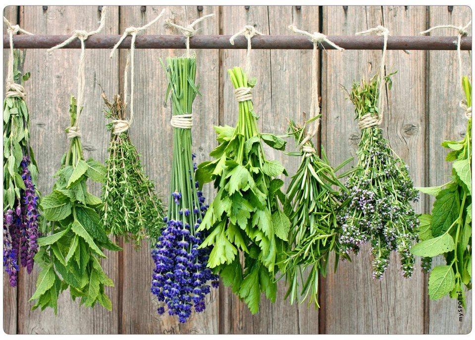 Spritzschutz »pop«, Herbs, 59x41 cm in grün