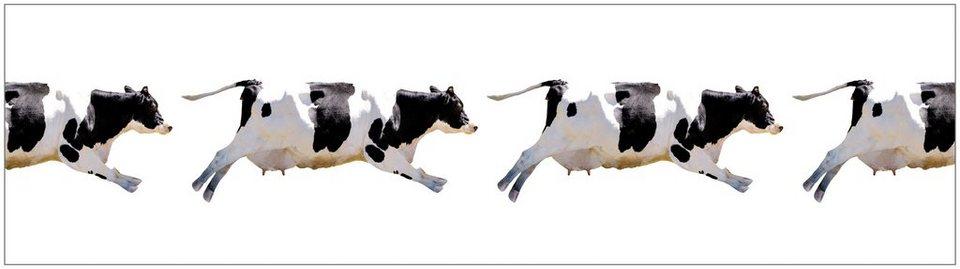 Küchenrückwand - Spritzschutz »profix«, Fliegende Kuh, 220x60 cm in weiß