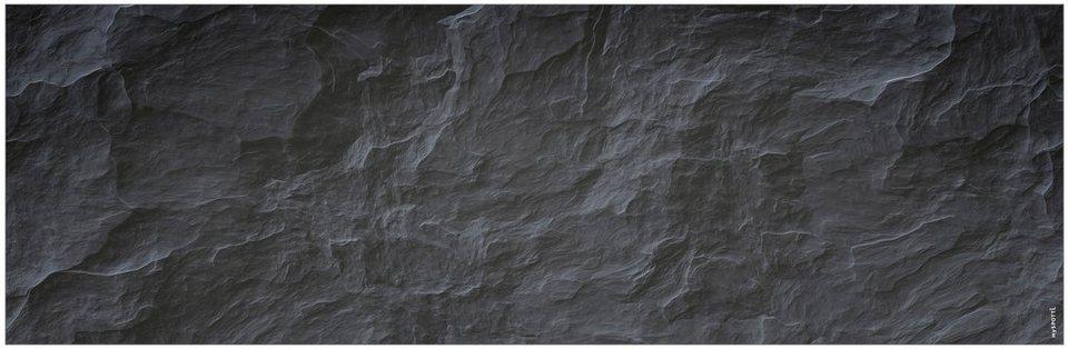 Badrückwand »aqua«, Schiefer, in 3 Breiten in schwarz