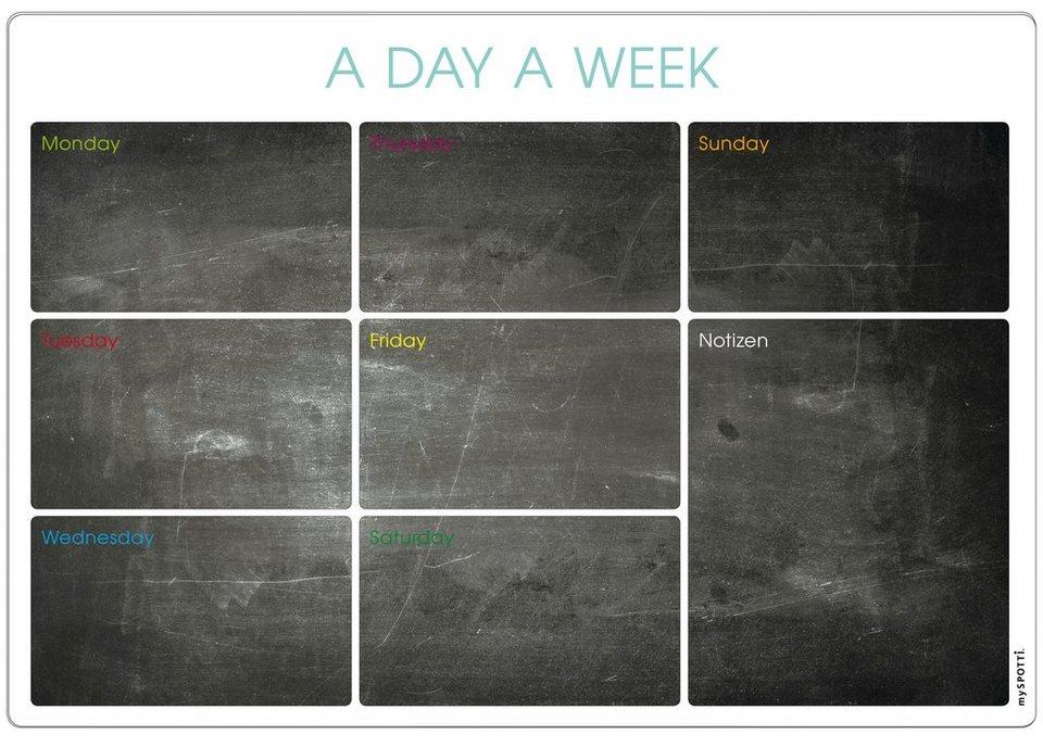 Küchenrückwand »memo to go«, A day a week, 70,5x49 cm in schwarz
