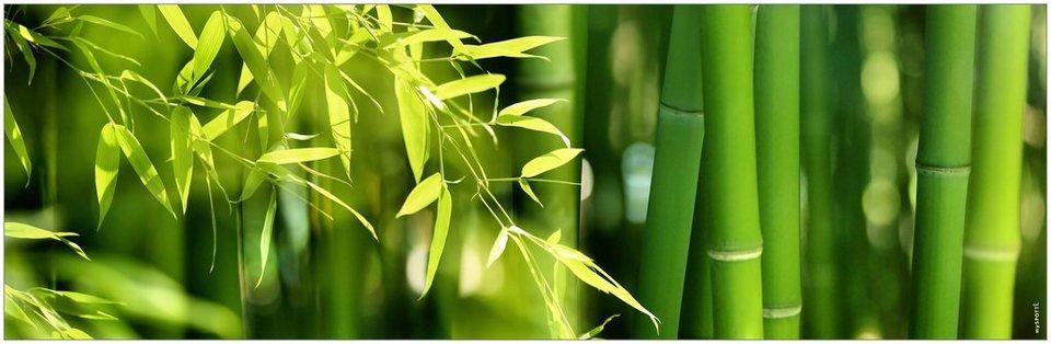 Badrückwand »aqua«, Bambus, in 3 Breiten in grün