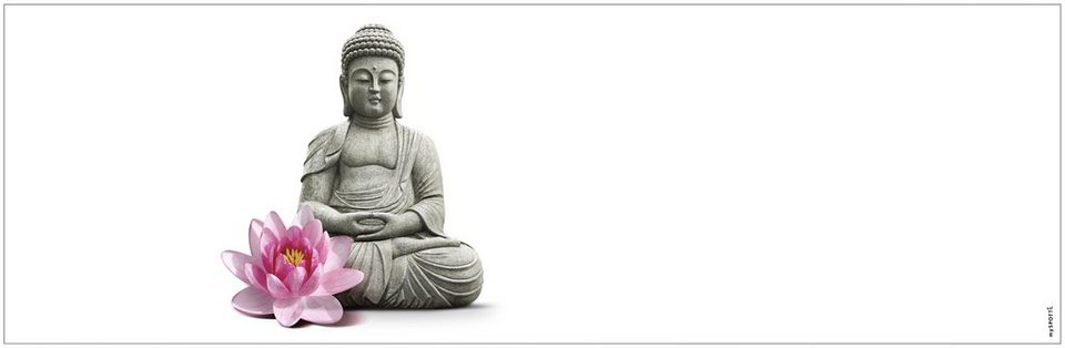 Badrückwand »aqua«, Buddha, in 3 Breiten in grau