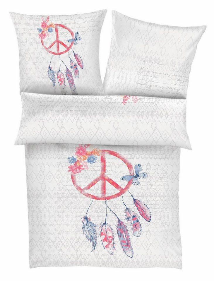 Bettwäsche, Ibena, »Traumfänger«, mit Federn und Blumen in grau