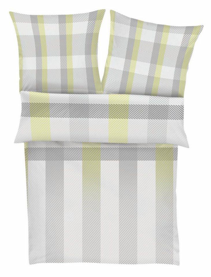 Bettwäsche, s.Oliver RED LABEL, »Systell«, mit diagonalen Streifen in grau-grün