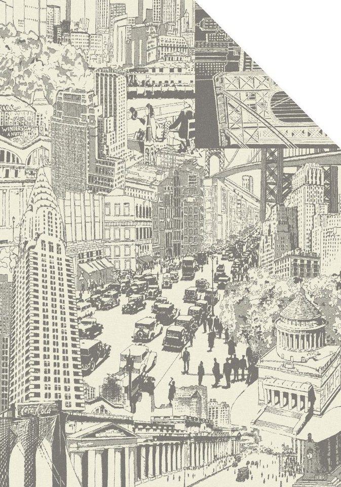 Wohndecke, Ibena, »City Life«, mit Stadtmotiven in grau