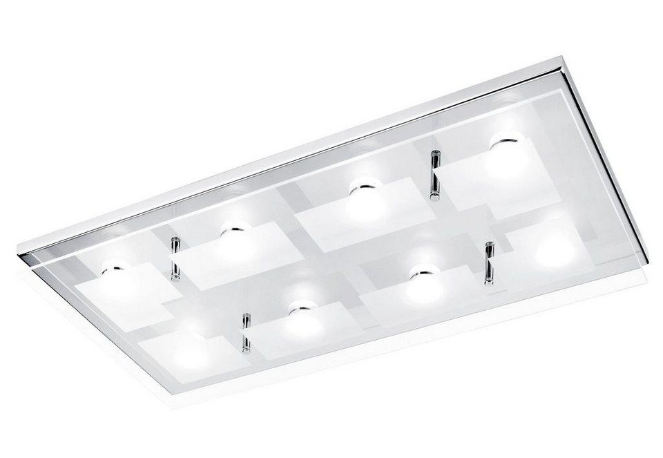 Paul Neuhaus LED-Deckenleuchte, 8flg., »CHIRON« in Metall, chromfarben, Glas teilsatiniert