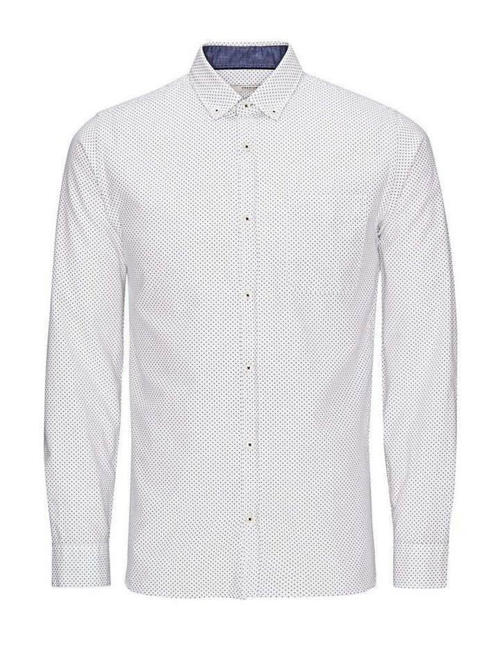 Jack & Jones Gemustertes Button-Down- Businesshemd in White
