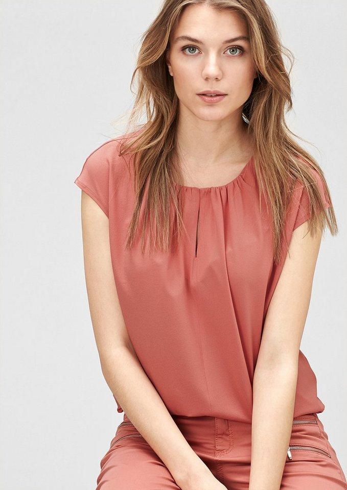 s.Oliver PREMIUM Blusenshirt mit Kräuselfalten in rose blush
