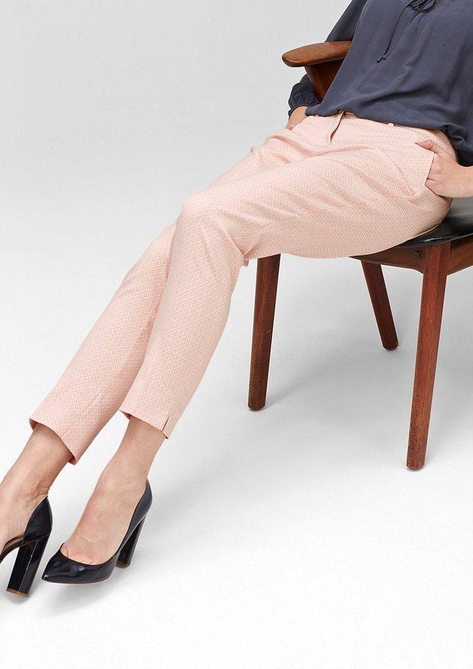 s.Oliver PREMIUM Slim: Gemusterte 7/8-Hose in chalk pink