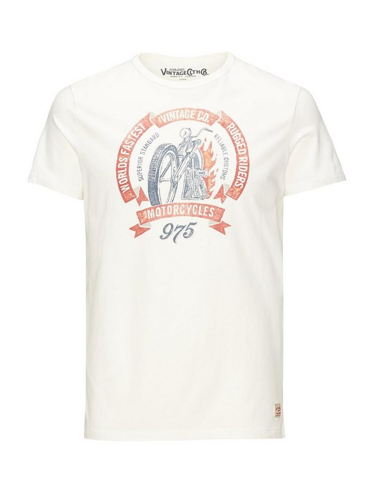 Jack & Jones Klassisch bedrucktes T-Shirt in Cloud Dancer