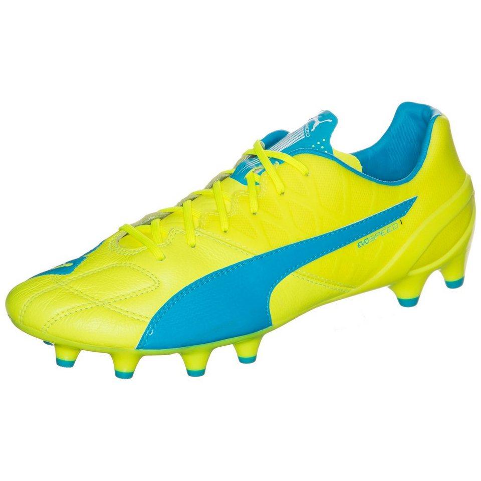 PUMA evoSPEED 1.4 Leather FG Fußballschuh Herren in neongelb / blau