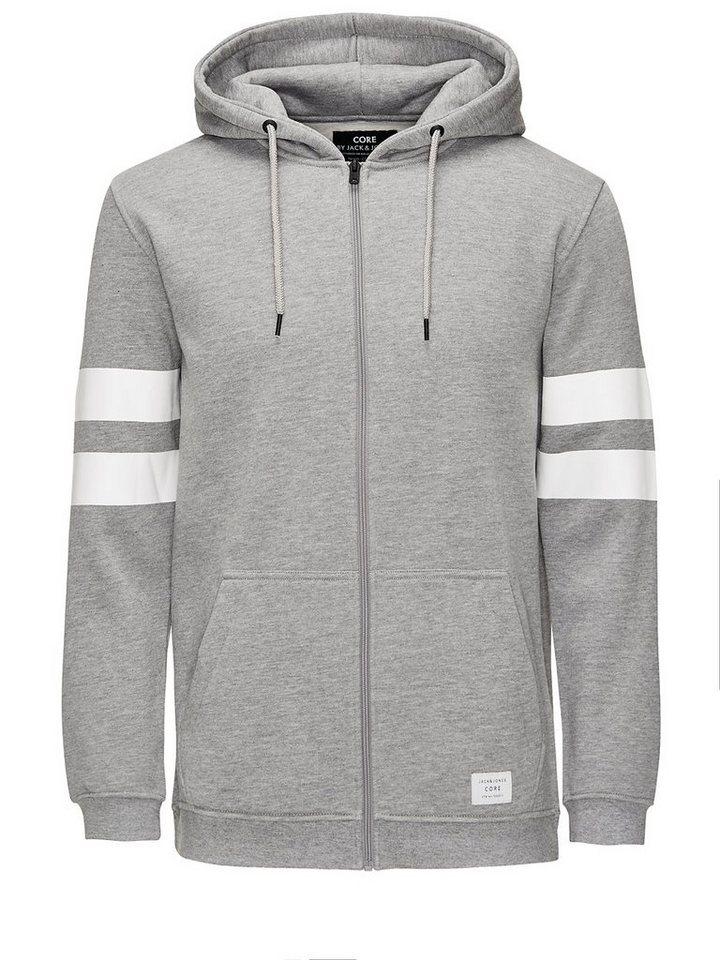 Jack & Jones Grafisch gestalteter Reißverschluss- Hoodie in Light Grey Melange
