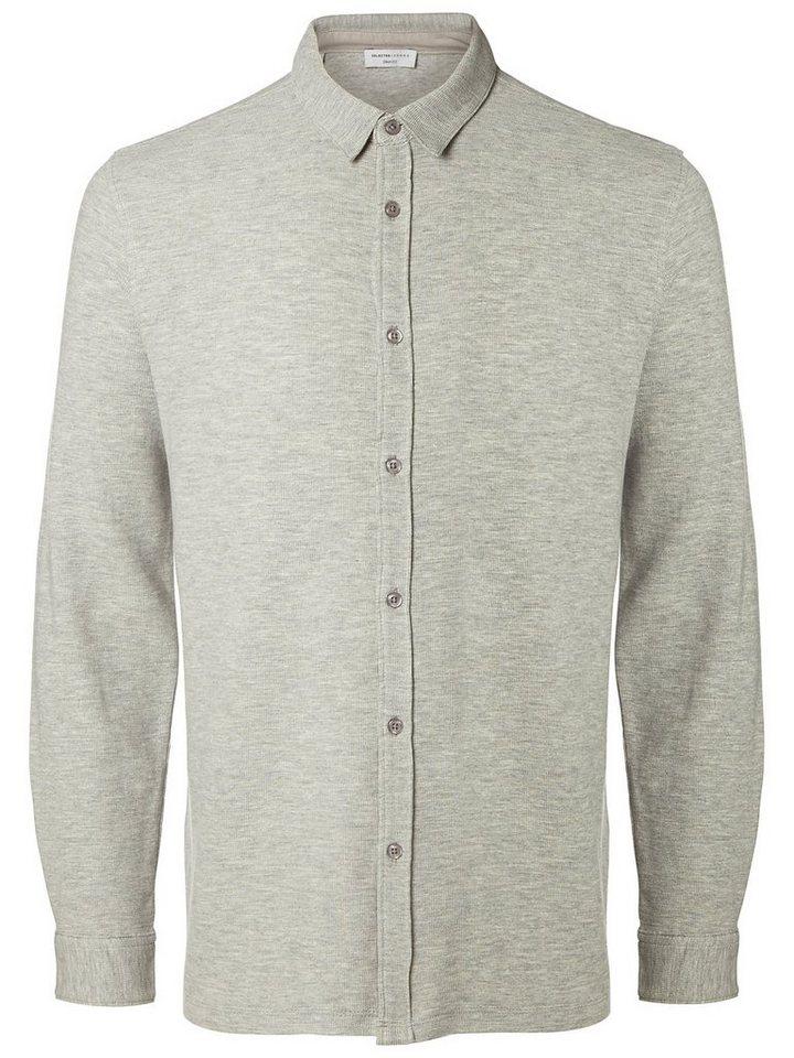 Selected Regular-Fit- Hemd in Light Grey Melange