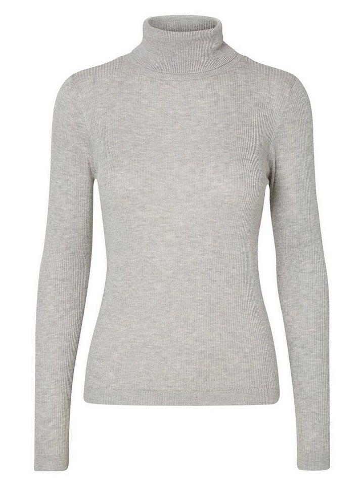 Vero Moda Tight-Fit-Ripp- Rollkragenpullover in Light Grey Melange