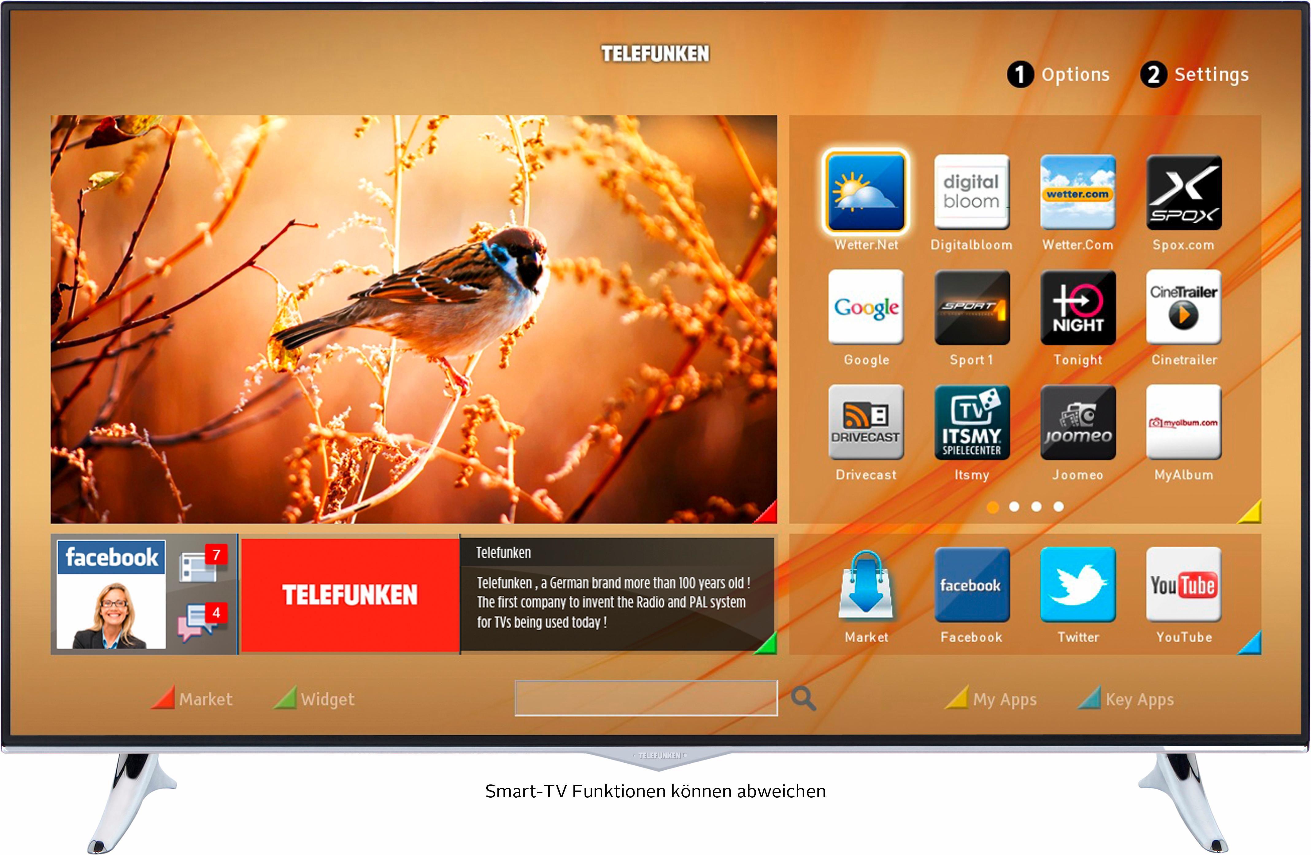 Telefunken L48U300M4CW, LED Fernseher, 122 cm (48 Zoll), 2160p (4K Ultra HD), Smart-TV