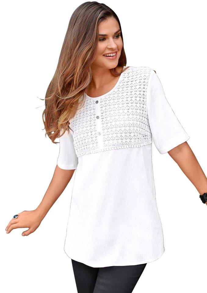 Classic Basics Tunika mit kurzer Zierknopfleiste in weiß