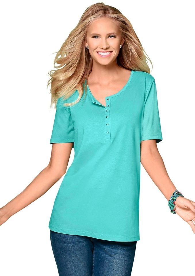 Classic Basics Shirt mit Rundhals-Ausschnitt in türkis