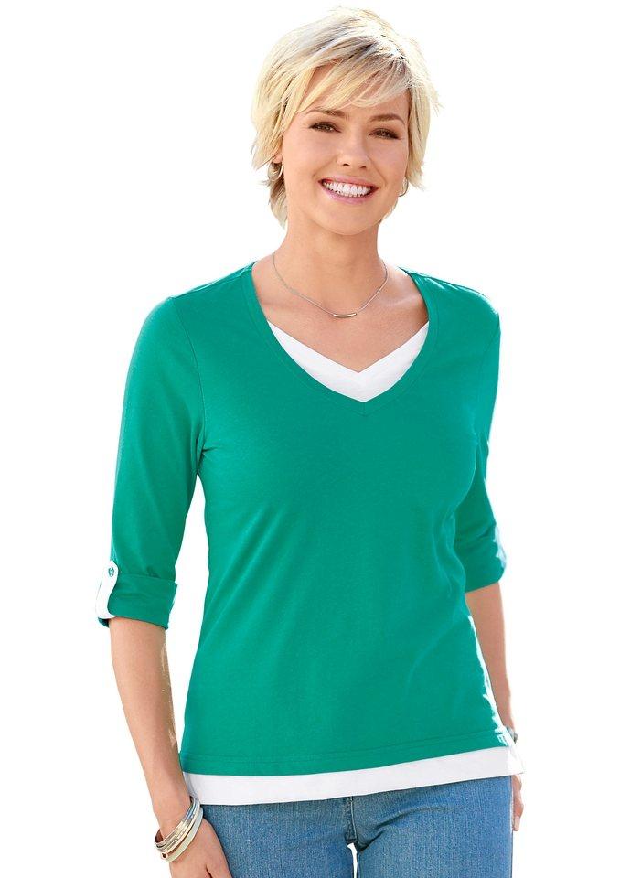 Collection L. Shirt aus reiner Baumwolle in smaragd