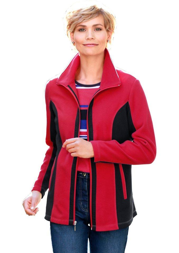 Classic Basics Fleece-Jacke mit Umlegekragen in rot