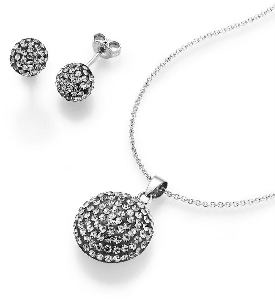 firetti Schmuckset: Kette mit Anhänger und Ohrstecker mit Kristallsteinen (Set, 4 tlg.) in Silber 925/grau