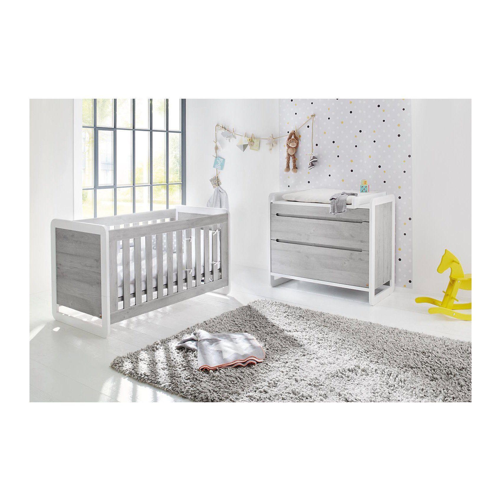 Pinolino Sparset CURVE, (Kinderbett und Wickelkommode), Esche grau