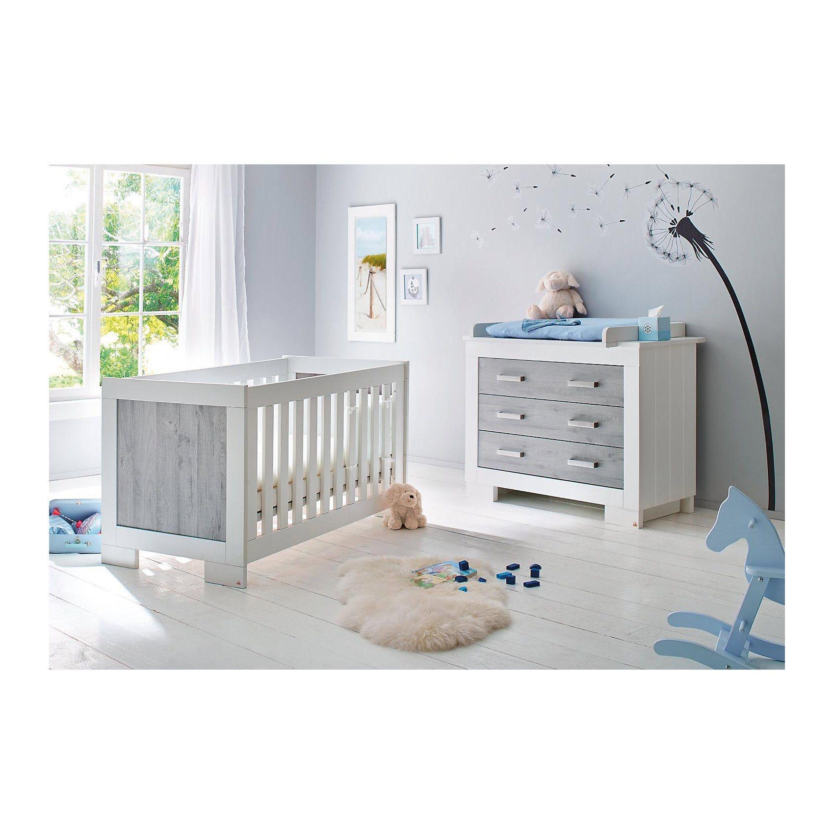 Pinolino Sparset LOLLE Kinderbett und Wickelkommode Esche grau