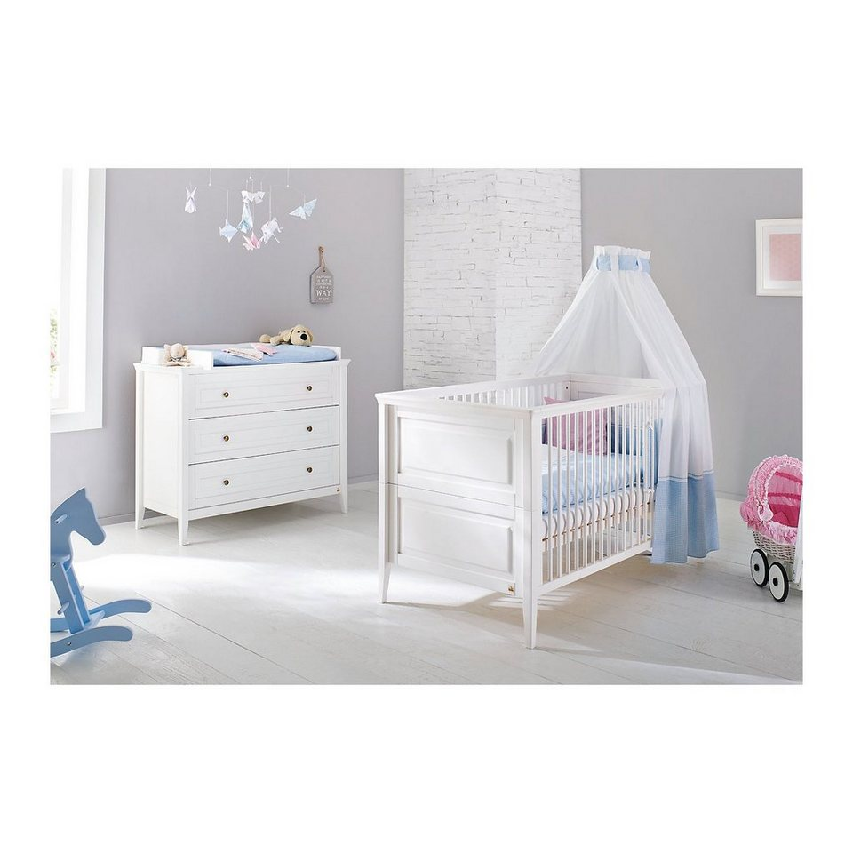 Pinolino Sparset SMILLA, (Kinderbett und Wickelkommode), Kiefer weiß in weiß