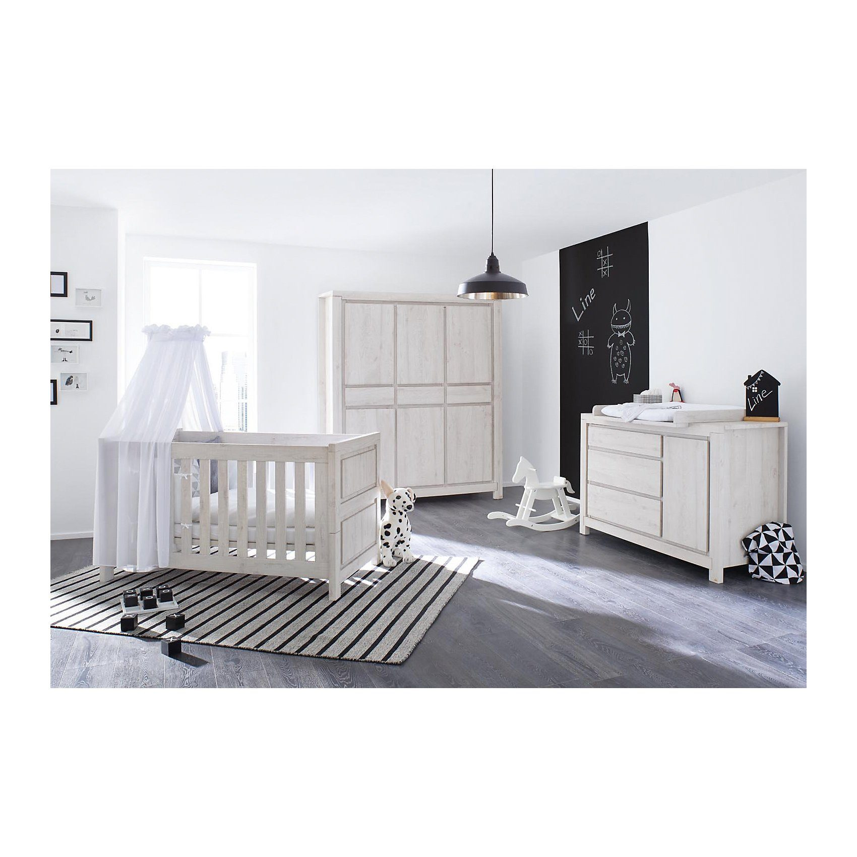 Pinolino Komplett Kinderzimmer LINE breit, (Kinderbett, Wickelkommode