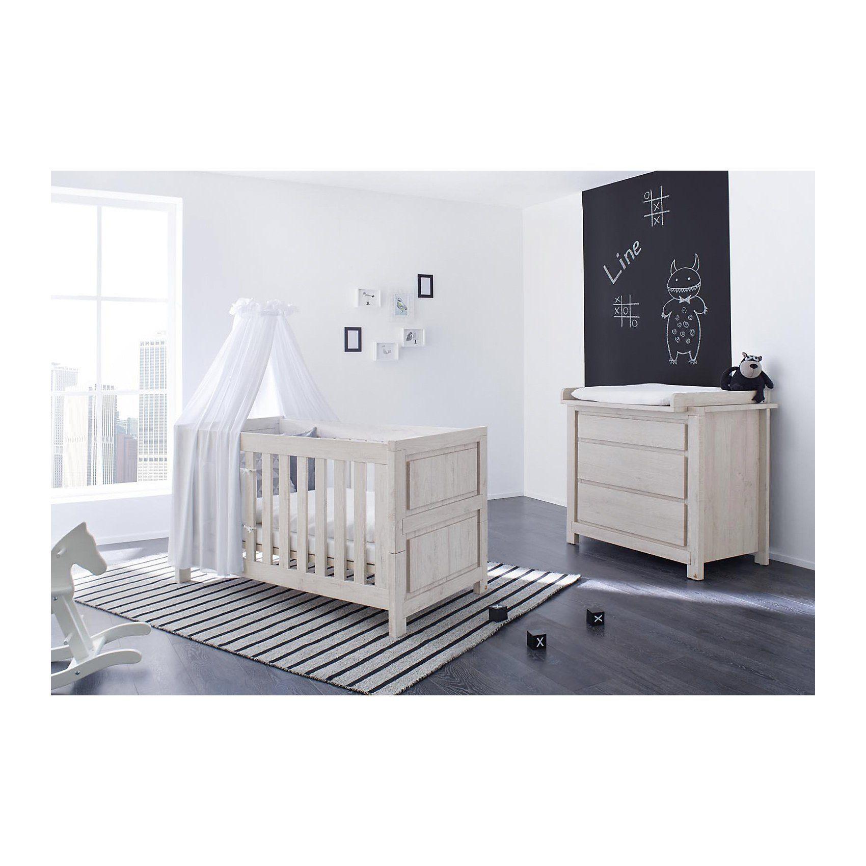 Pinolino Sparset LINE breit, (Kinderbett und Wickelkommode), MDF Eich