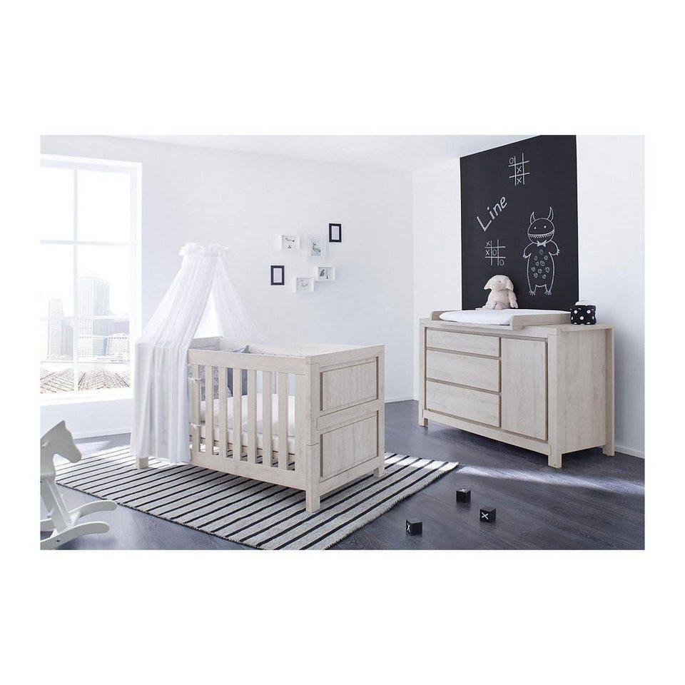 Pinolino Sparset LINE breit, (Kinderbett und Wickelkommode), MDF Eich in grau